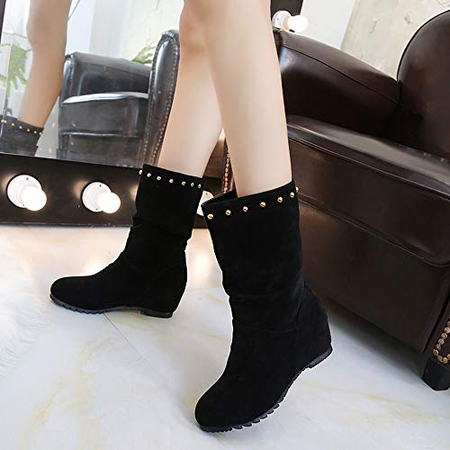 Brown Suede Shoes Shoes Toe Rivets Black 43 Pure 35 Keep Booties Wedges Black Shoes Red Round Color Women JERFER Warm 5qgaw