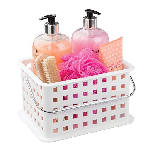 InterDesign Basic Cesta organizadora, canasto organizador de baño de tamaño pequeño en plástico para artículos de ducha...