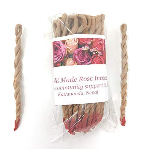 Home Made Organic Rose Tibetan Rope Incense made in Nepal (Each bundle contains approx 45 in ropes)