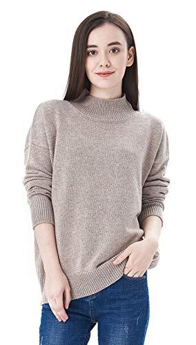 Mock Sweater Womens Neck (MONICA REA Women's Mock Neck Cozy Pullover Sweater,Khaki,12)