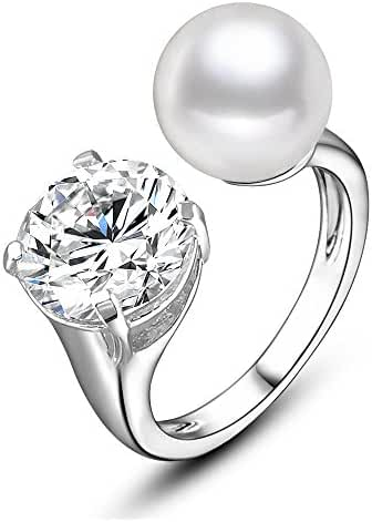 Mytys White Imitation Pearl and Cubic Zirconia Adjustable Fashion Finger Rings for Women