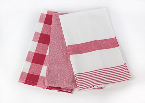 Three Red and White Kitchen Towels by C /& F