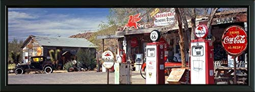 (Easy Art Prints Panoramic Images's 'Store with a Gas Station on The Roadside, Route 66, Hackenberry, Arizona, USA' Premium Framed Canvas Art - 36