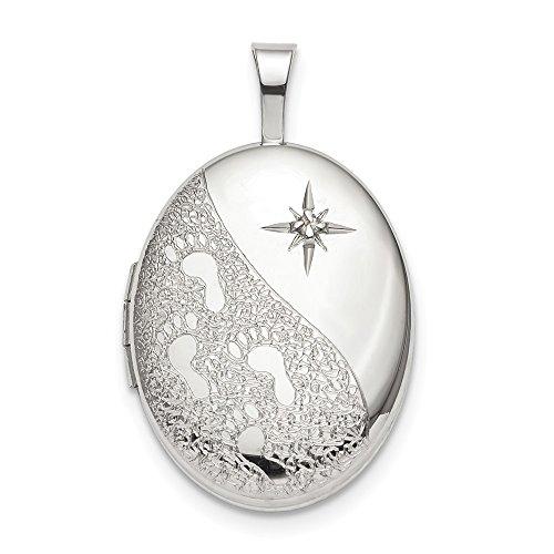 (Solid 925 Sterling Silver 16mm Diamond Footprints Oval Locket )