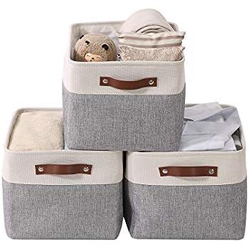 DECOMOMO Large Foldable Storage Bin [3-Pack] Collapsible Sturdy Cationic Fabric Storage Basket Cube W/Handles for Organizing Shelf Nursery Home Closet & Office - Grey & White 15 x 11 x 9.5