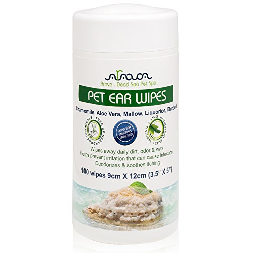 Arava Pet Ear Wipes - for Dogs Cats Puppies & Kittens - 100 Count - Natural Medicated Cleansing Deodorizer - Removes Dirt Wax Yeast & Mites Irritations - Prevents Odors Itching - Soft Gentle Dog Wipes -