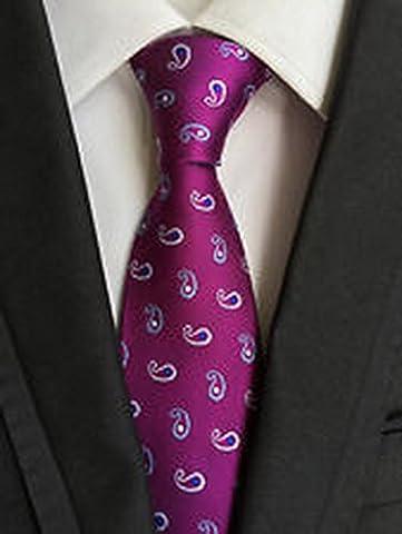 Jacob AleX 47182 Costume Floral Paisley Jacquard Woven Necktie, Purple Flowers, 59-Inch