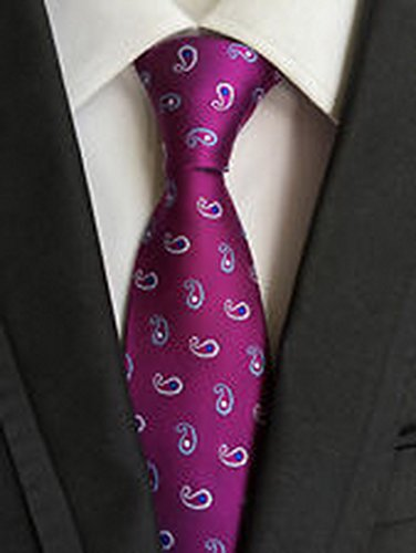 [MINDoNG Necktie Floral Paisley Purple Flowers JACQUARD WOVEN Men's Tie GAG # 33187] (James Bond Womens Costumes)