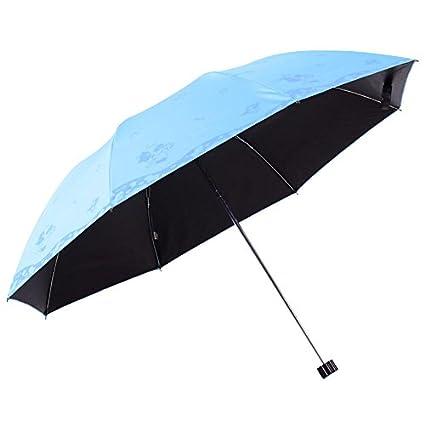 Paraguas plegable automatico Mujer niño Hombre an- Sombrilla de plástico doblada de Color Negro -