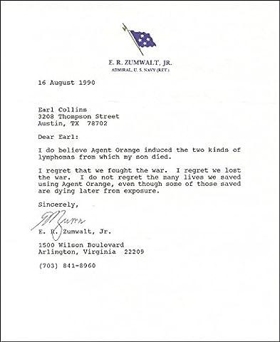 Admiral Elmo R. Zumwalt Jr. - Typed Letter Signed 08/16/1990 - Elmos Letter
