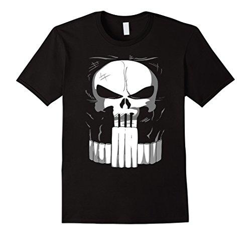 [Mens Marvel Punisher Classic Skull Halloween Costume T-Shirt Large Black] (Punisher Costume Halloween)