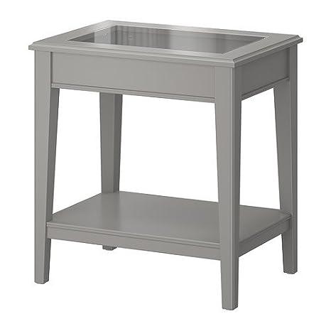 Ikea liatorp - Mesa auxiliar, Gris, cristal - 57 x 40 cm: Amazon.es: Hogar