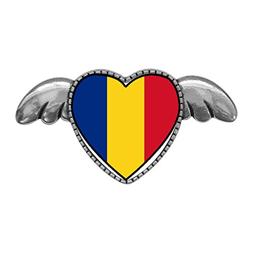 Pin Angel Flag - GiftJewelryShop Ancient Style Silver Plate Romania Flag Heart with Simple Angel Wings Pins Brooch