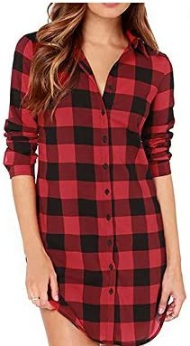 Vococal - Solapa Casual Camisa Cuadros Blusa de Manga Larga para Mujer,Color Rojo + Negro M: Amazon.es: Juguetes y juegos