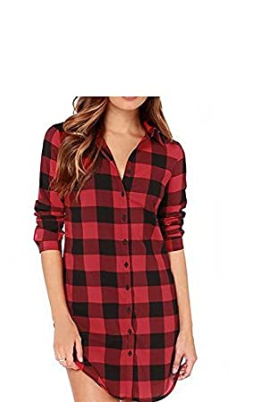Vococal - Solapa Casual Camisa Cuadros Blusa de Manga Larga para Mujer,Color Rojo +