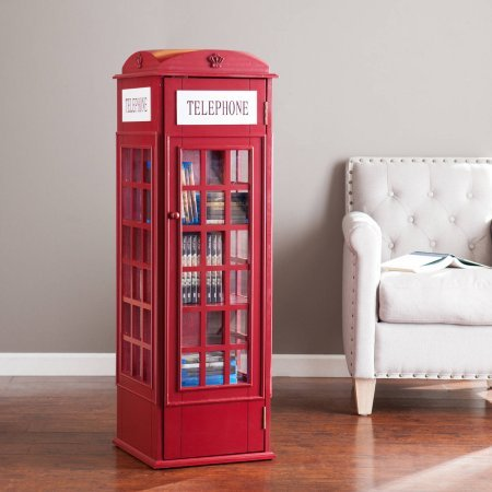 Southern Enterprises Phone Booth Storage Cabinet, Burgundy Red