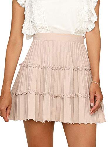 Miessial Women's Sweater Knit A-Line Mini Skirt High Waisted Cute Ruffle Short Skirt Pink 10