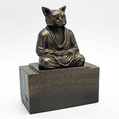 Garden Feline Sculpture - Design Toscano Spirit of Zen Meditating Cat Bookend (Set of 2)