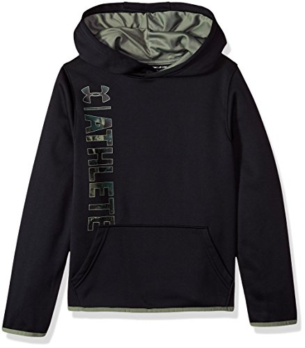 Under Armour Boys Armour Fleece Athlete Hoodie, Black (001)/Moss Green, Youth - Boys Armour Sweatshirt Under