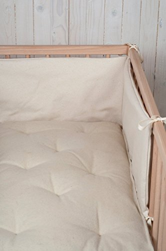 4 Sided Crib Bumper (Wool Filled Baby Crib Bumper / 3-sided or 4-sided / Natural Silk, Cotton or Linen Cover / Custom Sizes on Request)