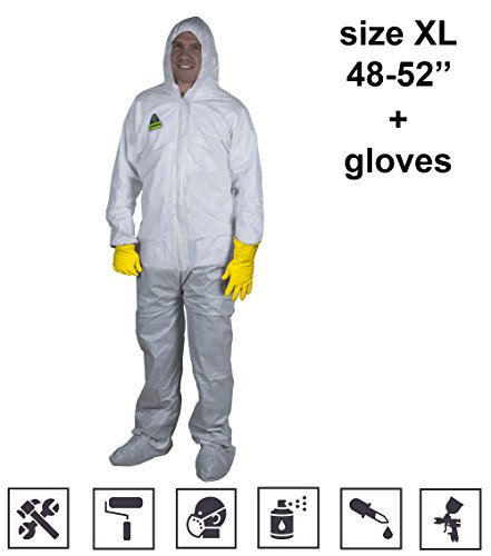 dеfеndеr Insulated Coveralls Work Gloves Painters Disposable Suit with Hood Universal Dust Paint Safety Protection Full Body White Overalls Unionalls size XL (Overall Protection)