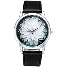 Top Plaza Black and White Lotus Flower Elegant Women Fashion PU Leather Band Analog Quartz Wrist Watch-Black