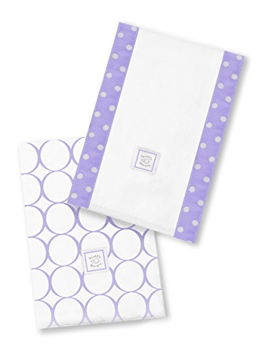 SwaddleDesigns Baby Burpies, Set of 2 Cotton Burp Cloths, Lavender Mod Circles by SwaddleDesigns