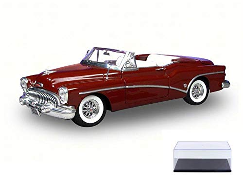 Motor Max Diecast Car & Display Case Package - 1953 Buick Skylark Convertible, Red 73129 - 1/18 Scale Diecast Model Toy Car w/Display - Buick 1953