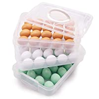 HansGo Egg Holder, 3-Layer Deviled Egg Tray with Lid Egg Carrier Box Dispenser Container with Handle for 60 Eggs