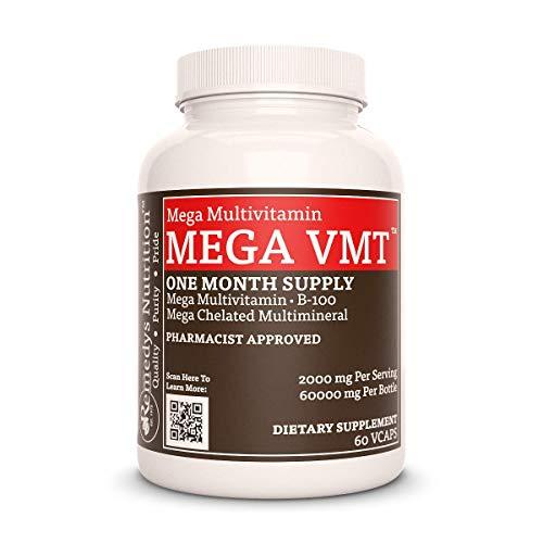 MEGA VMT Remedys Nutrition Multivitamin Vegan 1000 mg per capsule / 2000 mg daily/ 60,000 mg per bottle MEGA STRENGTH Vcaps