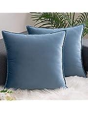 AHAHA 2 packs hoge dichtheid fluwelen kussenhoezen - zachte vierkante kussenhoezen brede rand decoratieve gooien kussenslopen 20x20 inch water blauw