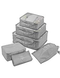 Packing Cubes, Travel Organizer Luggage Compression Pouches for Clothing, Underwear, Cosmetic and Shoes (Gray)