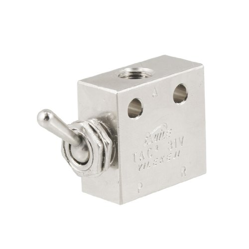 uxcell TAC2-31V 2 Position 3 Way Air Pneumatic Knob Control ON OFF Toggle Valve