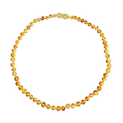 Alician Funtoy for Baby Kids Amber Necklace Teething Irregular Amber Necklace Pain Reduce Golden Amber
