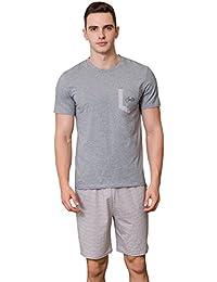 Men Summer Pajamas, Stripe Cotton Pyjamas, Short-Sleeve Top with Shorts Set,