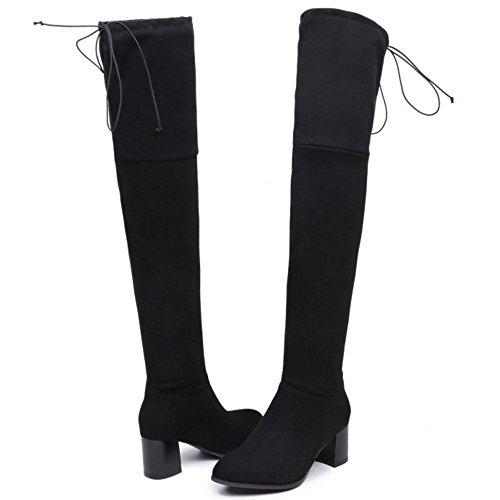 COOLCEPT Damen Stiefel Half Zipper Black