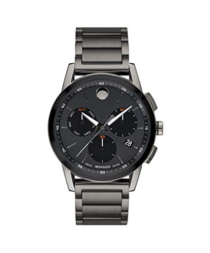 Movado Men's Museum Sport Chronograph Watch with a Printed Index Dial, Grey/Black (0607291) ()