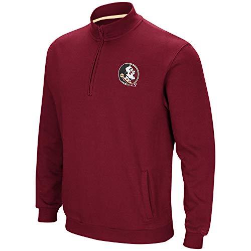 Colosseum NCAA Men's Tailgater Cotton-Poly Fleece 1/4 Zip Pullover-Florida State Seminoles-Garnet-XL