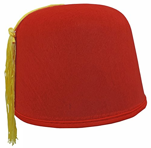 Adult Size Red Felt Dr. Who Shriner Aladdin Fez Hat w/ Gold Tassel (Halloween Costumes Dr Who)