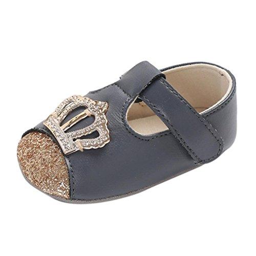 Baby Shoe,EnjoCho Infant Newborn Boys Girls Crown Shoe Crib Prewalker PU Leather Soft Anti-slip Shoes (Age:0-6M, Gray)