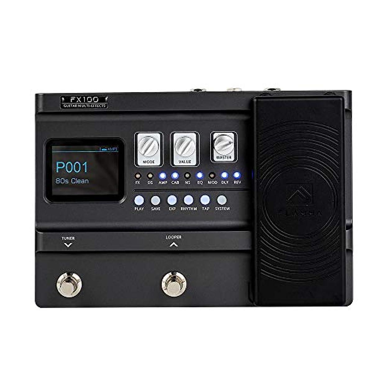 [해외] FLAMMA FX100 기타 멀티-이펙트 페달 151 이펙트 부착 80초 루 파 200 프리 세트 55 앰프 모델 40 드럼 머신 10 메트로놈 다크 그레이
