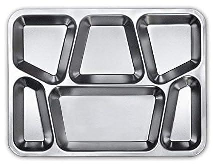 Bandeja para servir comida de acero inoxidable 6 compartimentos plato comida Fiesta Bar Restaurante Hotel de