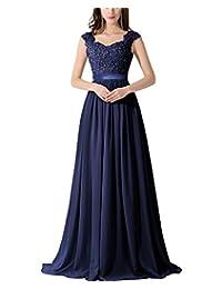 CaliaDress Women A Line Sheer Back Chiffon Long Prom Evening Gowns C007LF