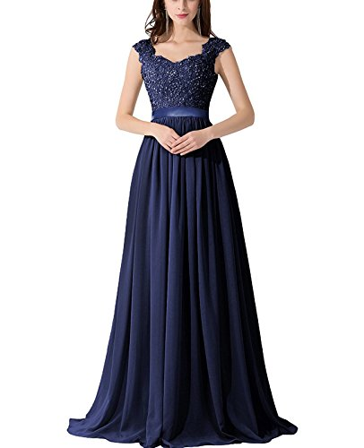 CaliaDress Women A Line Sheer Back Chiffon Long Prom Evening Gowns C007LF Navy Blue US18W