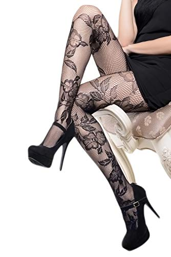 (Yelete Killer Legs Women's One/Plus Size Patterned Fishnet Tights Stocking Pantyhose (Regular, Lace & Roses))