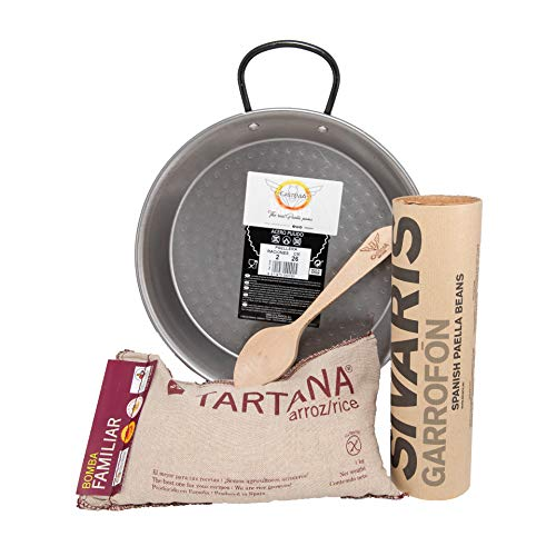 (Castevia Traditional Paella Kit with Paella Pan Polished Steel 10Inch / 26cm / 2 servings + Authentic Valencian Tartana Bomba Rice 1Kg. + Garrofon Paella Beans 400 gr. + Castevia Wooden Spoon)