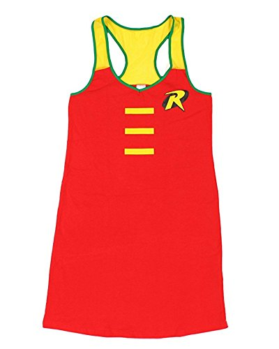 Poison Ivy Comic Book Character Costumes (DC Comics Womens Robin Mesh Trim Sleep Tank, Medium)