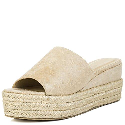 Suede Toe Open Stone MASIE Wedge Peep Sandals Heel SPYLOVEBUY Shoes Style Women's x7ZqvH