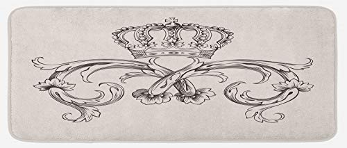 (Lunarable Medieval Kitchen Mat, Royal Crown with Vintage Curves King Palace Ribbon Monochrome Retro Style, Plush Decorative Kitchen Mat with Non Slip Backing, 47 W X 19 L Inches, Beige Dark Brown)