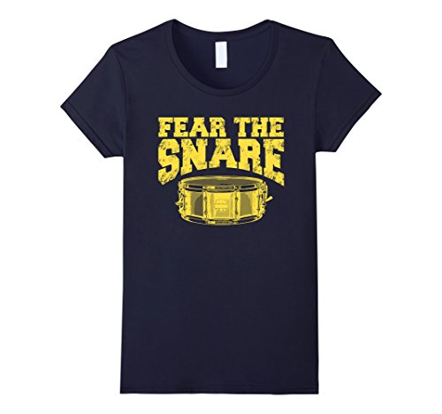 womens-fear-the-snare-drum-t-shirt-gift-idea-for-drummers-small-navy
